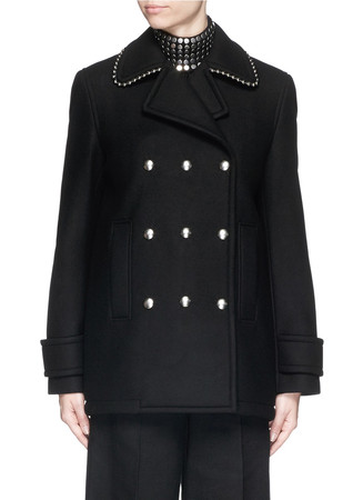 Ball chain collar trim wool blend coat