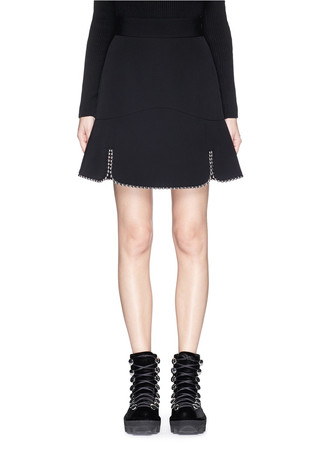 Ball chain trim virgin wool skirt