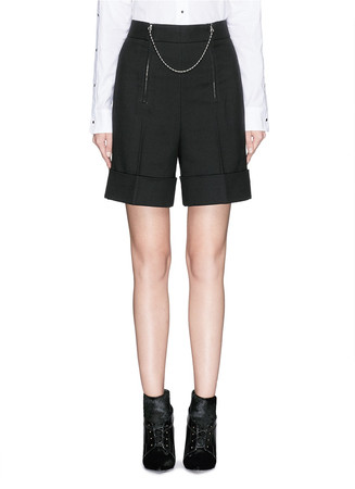 Ball chain zip cotton-wool shorts