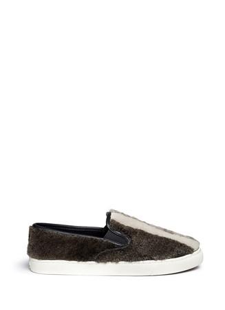 'Bamford' colourblock cashmere shearling skate slip-ons