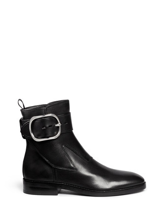 'Bara' ankle strap leather boots