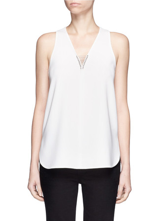 Barbell pierced V-neck top