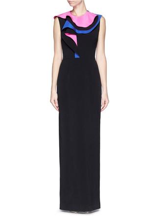 'Bartlett' ruffle silk blend crepe dress
