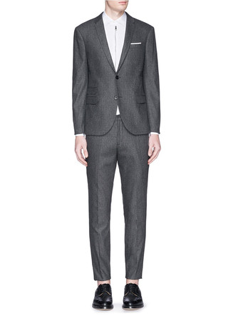 Basketweave wool blend suit