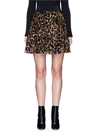 'Bea' leopard print devoré velvet circle skirt