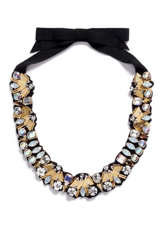 Bead and crystal fabric-backed necklace