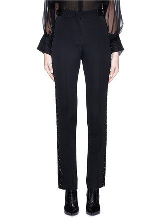Beaded outseam wool pants