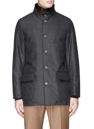 Beaver fur collar wool Aqua flannel caban jacket