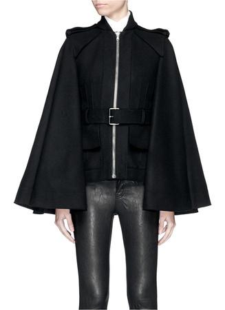 Belted compact wool felt cape coat
