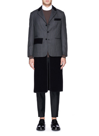 'Birger Reid' detachable hem colourblock coat