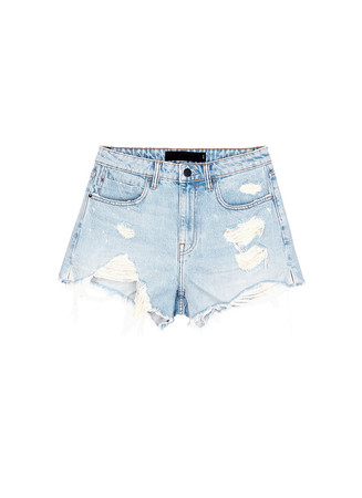 'Bite' distressed cut-off denim shorts
