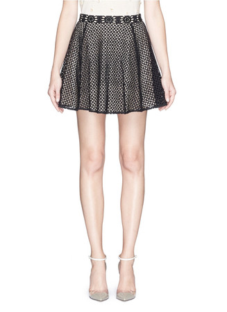 'Blaise' embroidered eyelet lace flare skirt