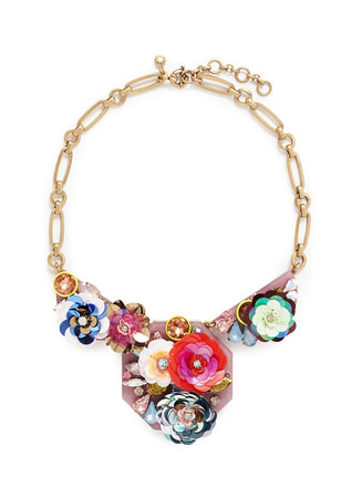 Blooming sequin paillette bib necklace