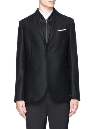 Bomber vest virgin wool-blend blazer