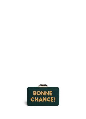 'Bonne Chance' embroidery felt Espey Maltese clutch