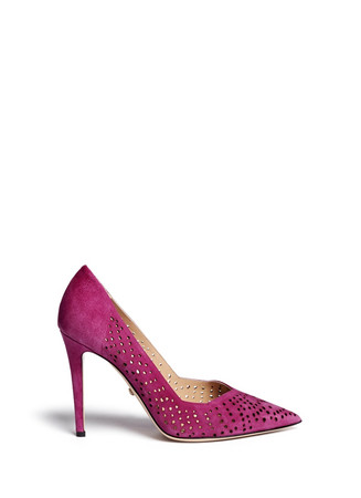 'Bonnie' perforated suede pumps
