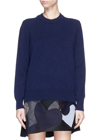 Bow back wool crew neck sweater