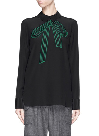 Bow embroidery silk shirt