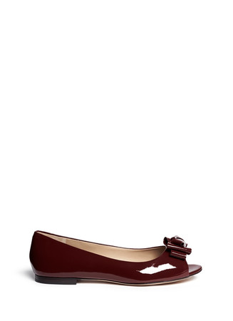 Bow patent leather peep toe flats