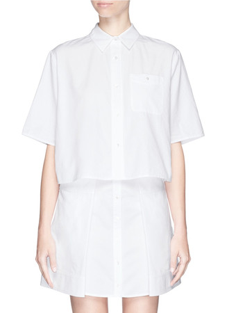 Boxy cropped cotton Oxford shirt