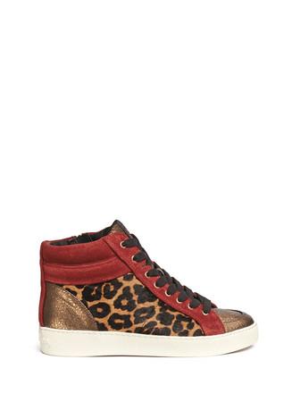 'Britt' leopard calf hair leather combo sneakers
