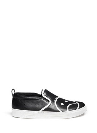 'Broome' sad emoticon leather slip-ons