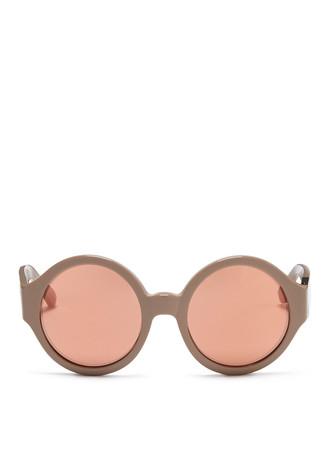 Brushed hardware acetate round sunglasses