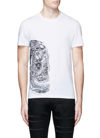 Butterfly skull print organic cotton T-shirt