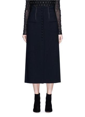 Button front wool blend A-line skirt