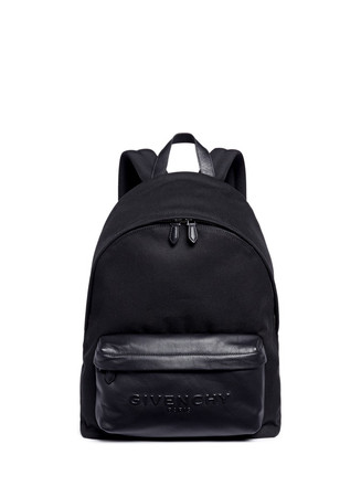 'C1' leather pocket cotton twill backpack