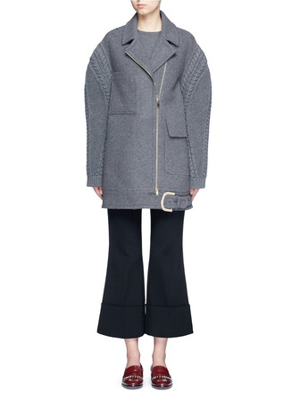Cable knit sleeve felted wool blend coat