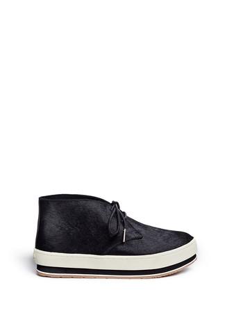 Calf hair platform sneaker boots