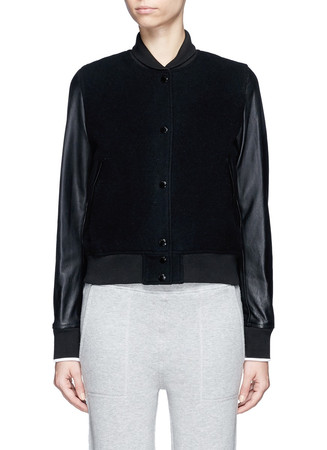 'Camden' leather sleeve wool blend jacket