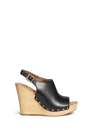 'Camilla' wooden wedge leather slingback sandals