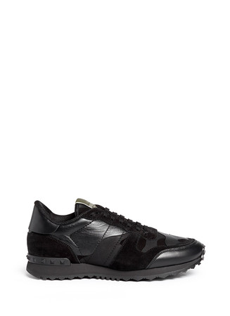 Camouflage print suede leather sneakers