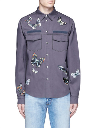 'Camubutterfly' patch shirt jacket