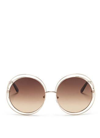'Carlina' overlap wire rim round sunglasses