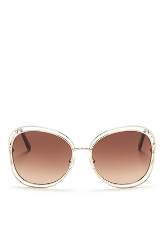 'Carlina' overlap wire rim sunglasses