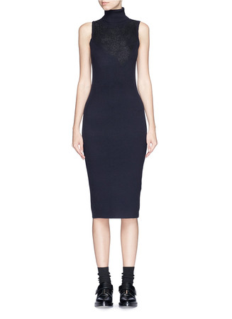 'Carolyn' lace overlay turtleneck rib knit dress