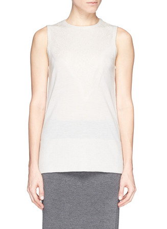 'Carolyn' lace trim front sleeveless wool top