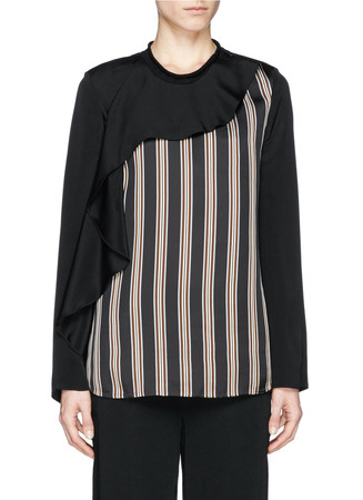 Cascading ruffle front stripe silk blouse