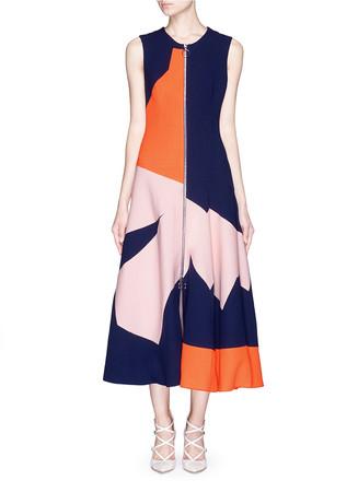 'Celeste' geometric panel wool crepe midi flare dress
