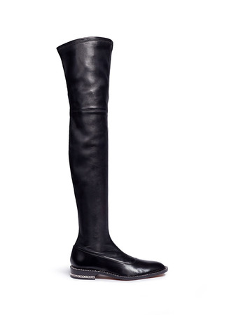 Chain trim heel leather thigh high boots