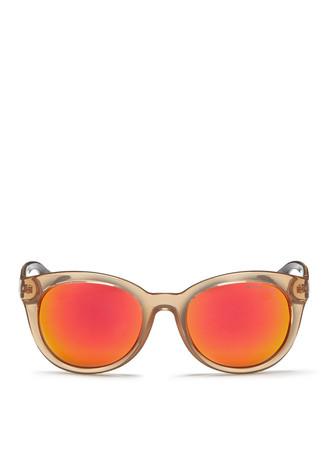 'Champagne Beach' contrast tortoiseshell acetate mirror sunglasses