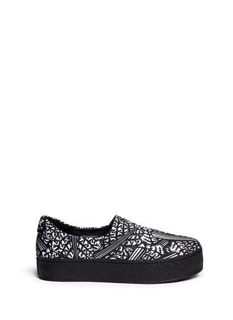 'Chard' pattern print neoprene platform skate slip-ons