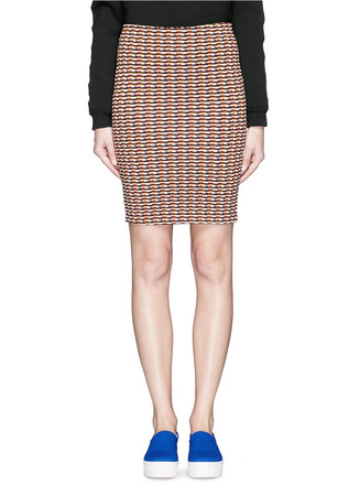 Check stretch knit pencil skirt