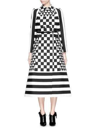Checkerboard crepe couture flare trench coat