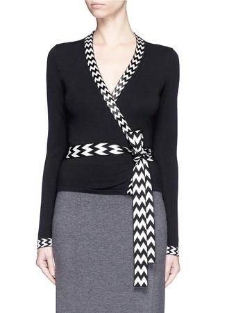 Chevron stripe silk blend ballerina wrap top