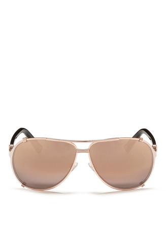 'Chicago 2' acetate temple matte coated metal aviator sunglasses