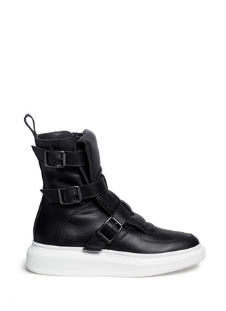 Chunky outsole buckle leather sneaker boots